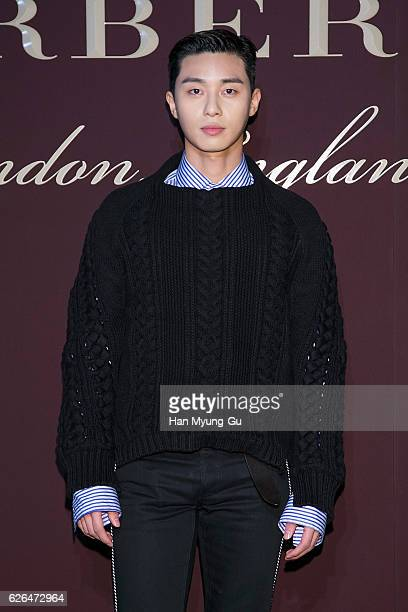 South Korean actor Park SeoJun attends the photocall for BURBERRY 160th Anniversary at the Burberry Seoul Flagship store on November 29 2016 in Seoul...