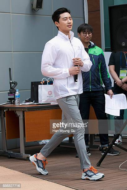 South Korean actor Park SeoJun attends the photocall for Hyungji 'NorthCape' Slow Exploring Campaign on May 29 2016 in Seoul South Korea