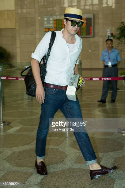 South Korean actor So JiSub is seen on departure at the Gimpo Airport on July 17 2014 in Seoul South Korea