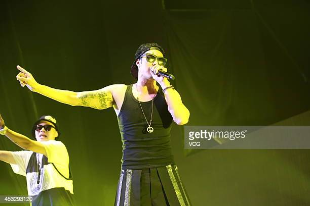 South Korean actor So Jisub performs on the stage during 'Let's have fun in Hongkong' show at Hong Kong International Trade and Exhibition Centre on...