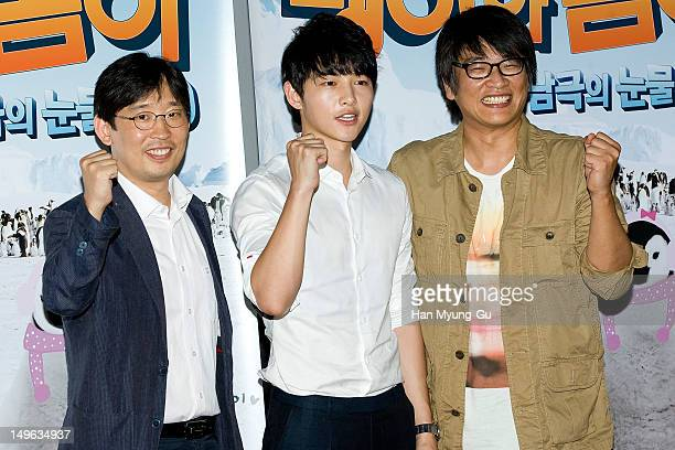 South Korean actor Song JoongKi and guest attend a press screening to promote MBC special documentary 'Tears of The Antarctic' 3D on August 01 2012...