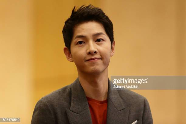 South Korean actor Song Joongki arrives at The Battleship Island Press Conference at Marina Bay Sands Convention Centre on August 8 2017 in Singapore