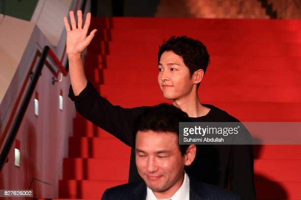 South Korean actor Song Joongki arrives for The Battleship Island red carpet at The MasterCard Theatres at Marina Bay Sands on August 8 2017 in...