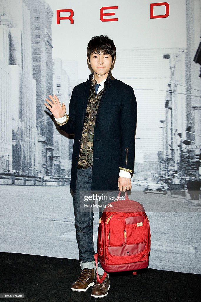South Korean actor <a gi-track='captionPersonalityLinkClicked' href=/galleries/search?phrase=Song+Joong-Ki&family=editorial&specificpeople=7350123 ng-click='$event.stopPropagation()'>Song Joong-Ki</a> (backpack detail) attends a promotional event for the 'Samsonite RED' Launching on February 7, 2013 in Seoul, South Korea.