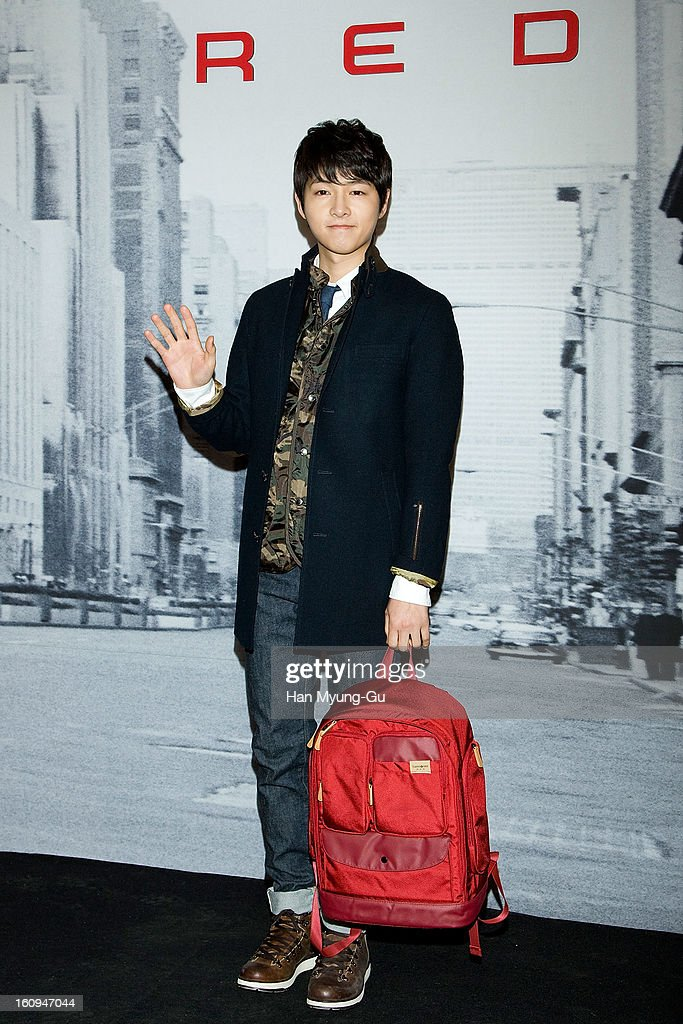South Korean actor Song Joong-Ki (backpack detail) attends a promotional event for the 'Samsonite RED' Launching on February 7, 2013 in Seoul, South Korea.