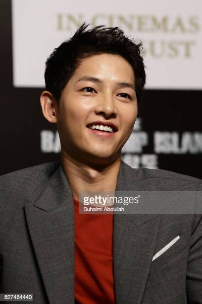 South Korean actor Song Joongki attends The Battleship Island Press Conference at Marina Bay Sands Convention Centre on August 8 2017 in Singapore