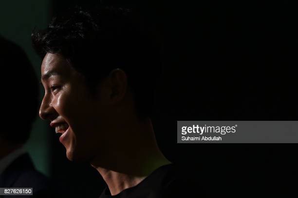 South Korean actor Song Joongki attends The Battleship Island red carpet at The MasterCard Theatres at Marina Bay Sands on August 8 2017 in Singapore