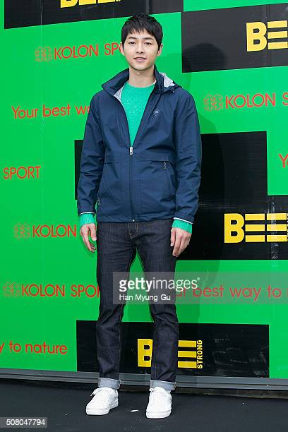 South Korean actor Song JoongKi attends the photocall for Kolon Sport And K 2016 S/S Collection on January 28 2016 in Seoul South Korea