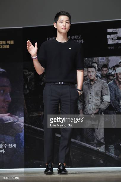 South Korean actor Song JoongKi attends the press conference for 'The Battleship Island' at the National Museum of Korea on June 15 2017 in Seoul...