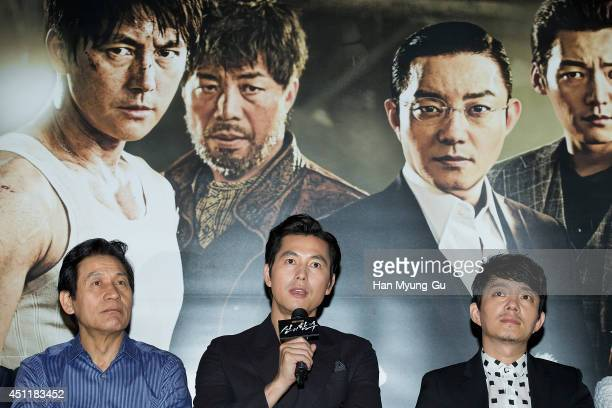 South Korean actors Ahn SungKi Jung WooSung and Lee BumSoo attend 'The Divine Move' press screening at MEGA Box on June 24 2014 in Seoul South Korea...