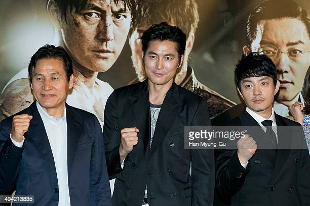 South Korean actors Ahn SungKi Jung WooSung and Lee BumSoo attend 'The Divinemove' press conference at MEGA Box on May 28 2014 in Seoul South Korea