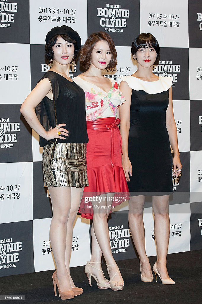 South Korean actors Ahn Yoo-Jin, Lisa and Dana attend the press conference for musical 'Bonnie and Clyde' at M-Cube in Seoul on August 19, 2013 in Seoul, South Korea. The musical will open on September 04, in South Korea.
