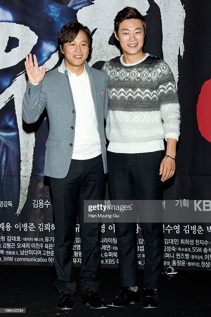 South Korean actors Cha Tae-Hyun and Lee Hee-Joon (Lee Hee-Jun) attend a press conference to promote the KBS drama 'Jeonwoochi' on November 14, 2012 in Seoul, South Korea. The drama will open on November 21 in South Korea.