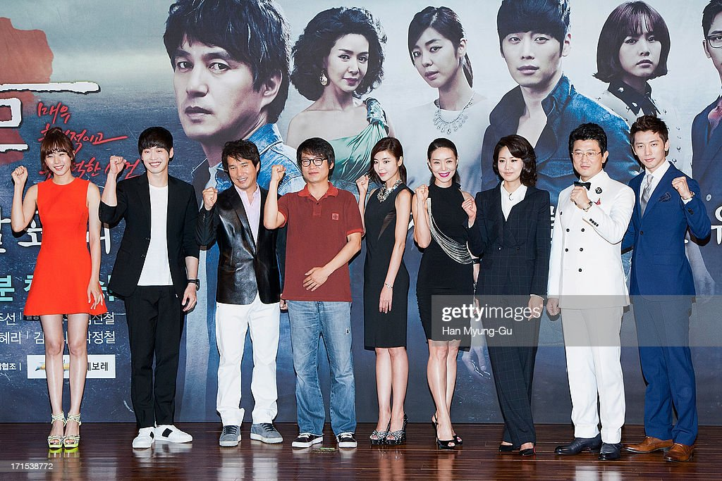 South Korean actors Cho Youn-Hee, <a gi-track='captionPersonalityLinkClicked' href=/galleries/search?phrase=Kim+Jae-Won&family=editorial&specificpeople=2550526 ng-click='$event.stopPropagation()'>Kim Jae-Won</a>, Cho Jae-Hyun, Kim Gyu-Ri, Kim Hye-Ri, Shin Eun-Kyung, <a gi-track='captionPersonalityLinkClicked' href=/galleries/search?phrase=Park+Sang-Min&family=editorial&specificpeople=7441281 ng-click='$event.stopPropagation()'>Park Sang-Min</a> and Ki Tae-Young attend during the MBC Drama 'Scandal' Press Conference on June 26, 2013 in Seoul, South Korea. The drama will open on June 29 in South Korea.