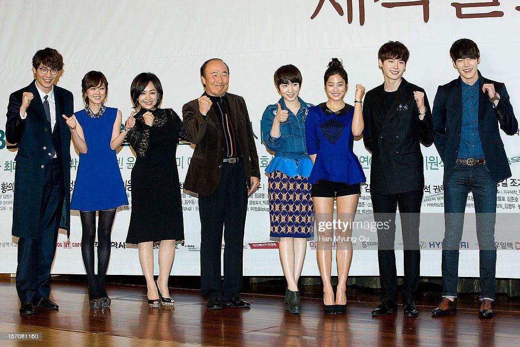 South Korean actors Daniel Choi Jang NaRa Park HaeMee Yoon JooSang Ryu HyoYoung Park SaeYoung Lee JongSuk and Kim WooBin attend during a press...