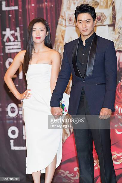 South Korean actors Ha JiWon and Joo JinMo attend the MBC Drama 'The Empress Ki' press conference at the Grand Hyatt Hotel on October 24 2013 in...