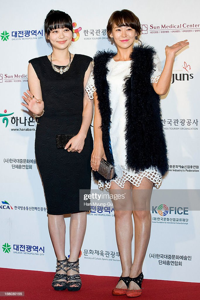 South Korean actors Han Seol-A and Sim Yi-Young attend the 1st K-Drama Star Awards at Daejeon Convention Center on December 8, 2012 in Daejeon, South Korea.