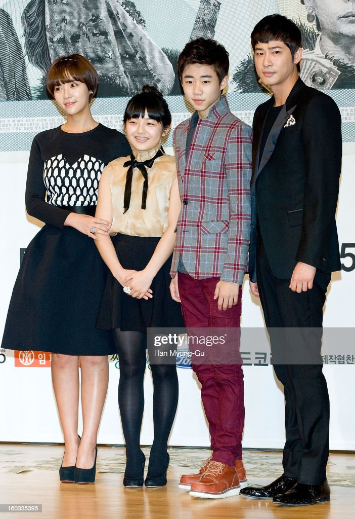 South Korean actors Hwang Jung-Eum, Seo Shin-Ae, Park Ji-Bin and <a gi-track='captionPersonalityLinkClicked' href=/galleries/search?phrase=Kang+Ji-Hwan&family=editorial&specificpeople=5629350 ng-click='$event.stopPropagation()'>Kang Ji-Hwan</a> attend the SBS Drama 'Incarnation Of Money' Press Conference at SBS on January 29, 2013 in Seoul, South Korea. The movie will open on February 02 in South Korea.