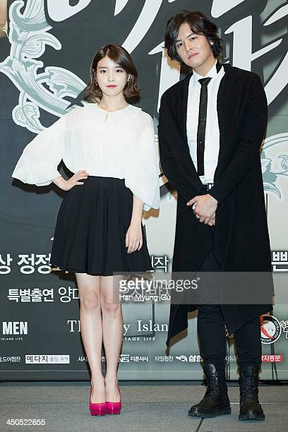 South Korean actors IU and Lee JangWoo attend KBS Drama 'Bel Ami' press conference at Imperial Palace Hotel on November 18 2013 in Seoul South Korea...