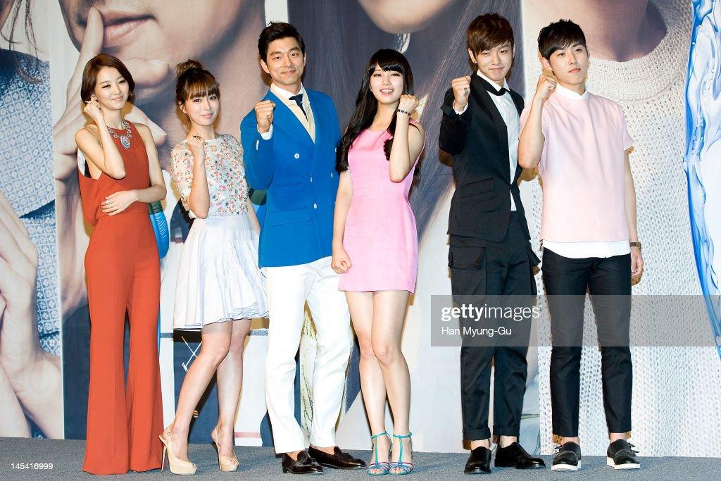 South Korean actors Jang HeeJin Lee MinJung Gong Yoo Suzy of Miss A Shin WonHo and Baek SungHyun attend a press conference to promote KBS drama 'Big'...