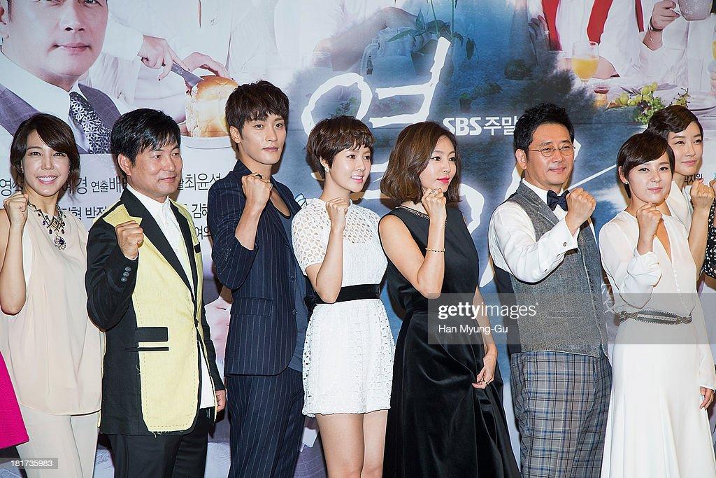 South Korean actors Jeon Su-Kyung (Jeon Soo-Kyung), Lee Han-Wie, Sung Hoon, Choi Yun-Young, Hwang Shin-Hae (Hwang Shin-Hye), Jeon Gwang-Ryeol and Jeon Mi-Sun attend SBS Drama 'Hot Love' press conference at 63 building on September 23, 2013 in Seoul, South Korea. The drama will open on September 28, in South Korea.
