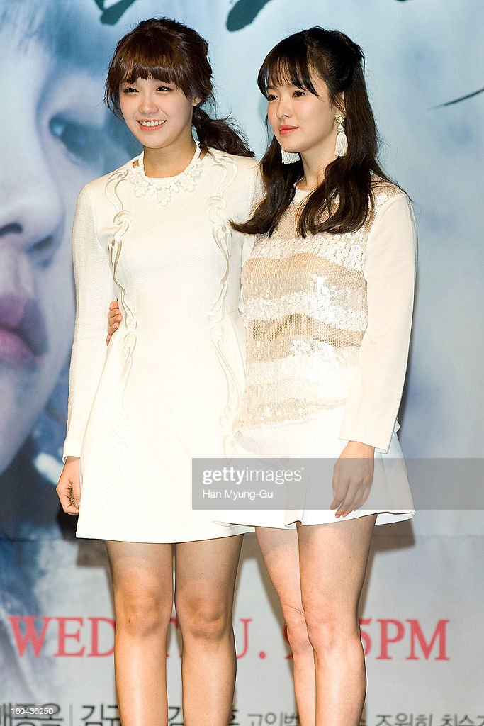 South Korean actors Jeong Eun-Ji (Jung Eun-Ji) and <a gi-track='captionPersonalityLinkClicked' href=/galleries/search?phrase=Song+Hye-Kyo&family=editorial&specificpeople=4238502 ng-click='$event.stopPropagation()'>Song Hye-Kyo</a> attend the SBS Drama 'Baramibunda' press conference at Blue Square Samsung Card Hall on January 31, 2013 in Seoul, South Korea. The drama will open on February 13 in South Korea.