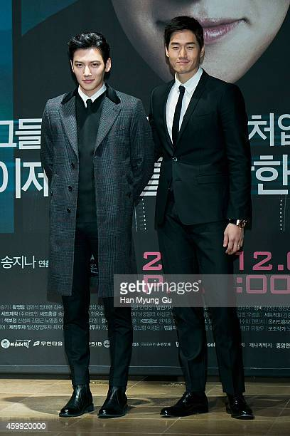 South Korean actors Ji ChangWook and Yoo JiTae attend the press conference of KBS Drama 'Healer' at the Raum on December 4 2014 in Seoul South Korea...