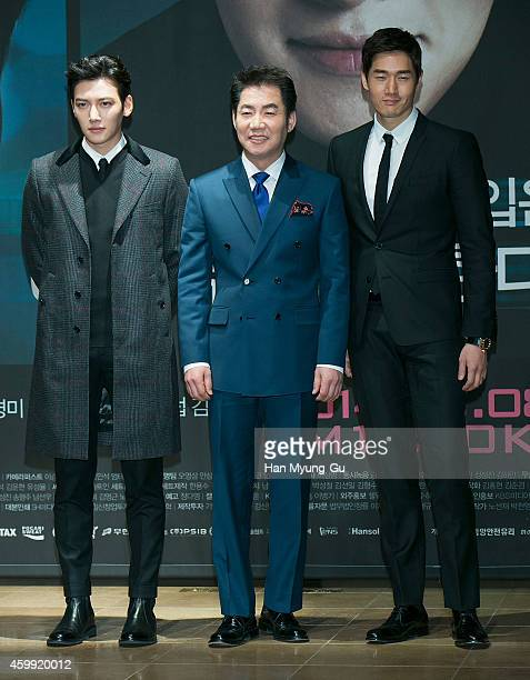 South Korean actors Ji ChangWook Park SangWon and Yoo JiTae attend the press conference of KBS Drama 'Healer' at the Raum on December 4 2014 in Seoul...