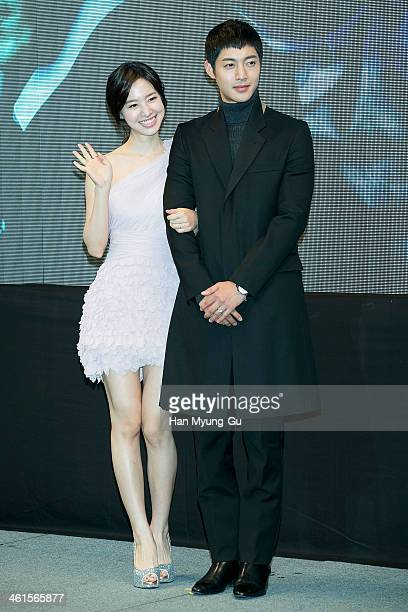 South Korean actors Jin SeYeon and Kim HyunJoong attend the KBS Drama 'Inspiring Generation' press conference on January 9 2014 in Seoul South Korea...