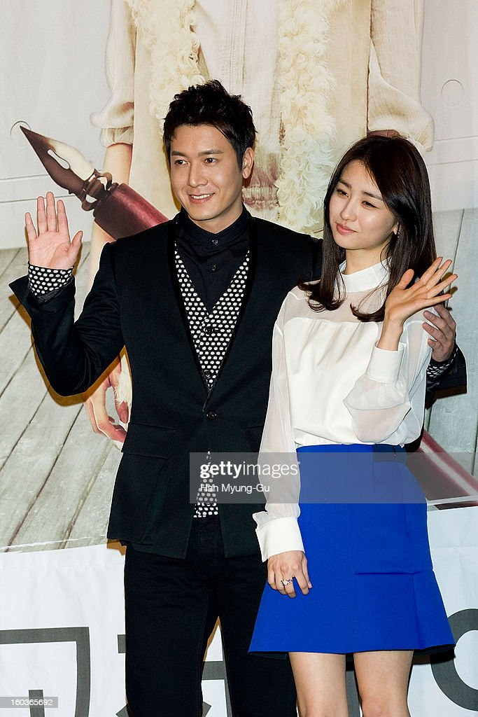 South Korean actors <a gi-track='captionPersonalityLinkClicked' href=/galleries/search?phrase=Jo+Hyun-Jae&family=editorial&specificpeople=4343711 ng-click='$event.stopPropagation()'>Jo Hyun-Jae</a> and Park Ha-Sun attend the KBS2 Drama 'AD Genius Lee Tae-Baek' Press Conference at Conrad Hotel on January 30, 2013 in Seoul, South Korea. The drama will open on February 04 in South Korea.