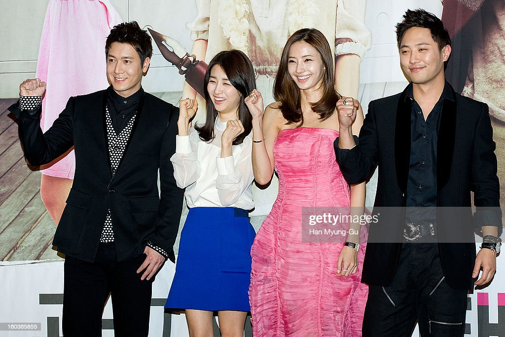 South Korean actors <a gi-track='captionPersonalityLinkClicked' href=/galleries/search?phrase=Jo+Hyun-Jae&family=editorial&specificpeople=4343711 ng-click='$event.stopPropagation()'>Jo Hyun-Jae</a>, Park Ha-Sun, <a gi-track='captionPersonalityLinkClicked' href=/galleries/search?phrase=Han+Chae-Young&family=editorial&specificpeople=829986 ng-click='$event.stopPropagation()'>Han Chae-Young</a> and <a gi-track='captionPersonalityLinkClicked' href=/galleries/search?phrase=Jin+Goo&family=editorial&specificpeople=5856942 ng-click='$event.stopPropagation()'>Jin Goo</a> attend the KBS2 Drama 'AD Genius Lee Tae-Baek' Press Conference at Conrad Hotel on January 30, 2013 in Seoul, South Korea. The drama will open on February 04 in South Korea.