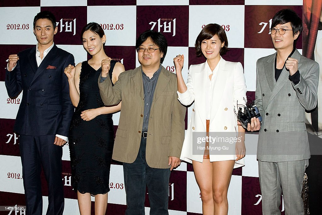 South Korean actors Joo Jin-Mo and Kim So-Yeon and Yoo Sun and Park Hee-Soon and director Jang Yoon Hyun (C) attends the 'Gabi' (Coffee) VIP Premiere at CGV on March 06, 2012 in Seoul, South Korea. The film will open on March 15 in South Korea.