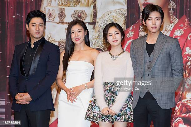 South Korean actors Joo JinMo Ha JiWon Baek JinHee and Ji ChangWook attend the MBC Drama 'The Empress Ki' press conference at the Grand Hyatt Hotel...