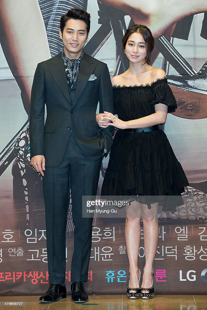 South Korean actors Joo SangWook and Rhee MinJung attend the press conference for MBC Drama 'Cunning Single Lady' at RAUM on February 24 2014 in...