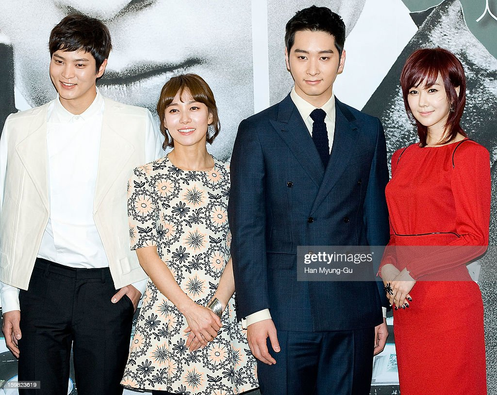 South Korean actors Joo Won, Jang Young-Nam, Chansung of South Korean boy band 2PM and Kim Min-Seo attend the MBC Drama '7th Grade Civil Servant' Press Conference at 63 Building on January 21, 2013 in Seoul, South Korea. The drama will open on January 23 in South Korea.