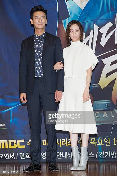 South Korean actors Ju JiHoon and Jung RyeoWon attend MBC drama 'Medical Top Team' press conference on September 24 2013 in Seoul South Korea The...
