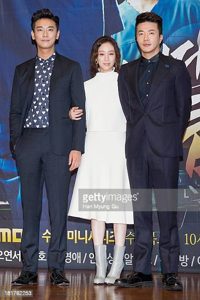 South Korean actors Ju JiHoon Jung RyeoWon and Kwon SangWoo attend MBC drama 'Medical Top Team' press conference on September 24 2013 in Seoul South...