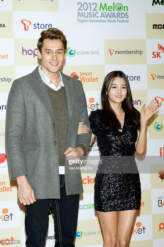 South Korean actors Julien Kang and Nam Bo-Ra arrive at the 2012 Melon Music Awards at Olympic Gymnasium on December 14, 2012 in Seoul, South Korea.