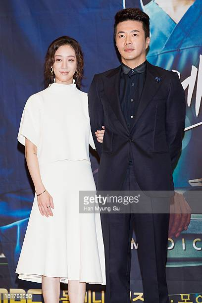 South Korean actors Jung RyeoWon and Kwon SangWoo attend MBC drama 'Medical Top Team' press conference on September 24 2013 in Seoul South Korea The...