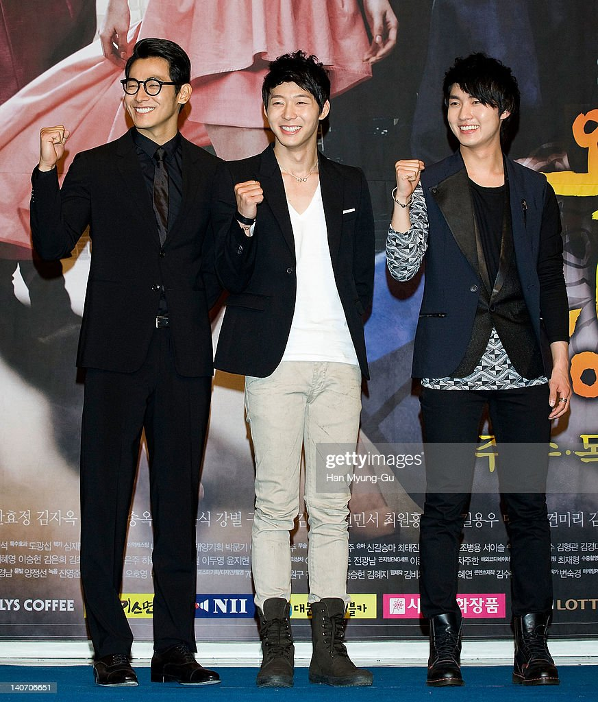 South Korean actors Jung Suk-Won and Micky of <a gi-track='captionPersonalityLinkClicked' href=/galleries/search?phrase=JYJ&family=editorial&specificpeople=3039772 ng-click='$event.stopPropagation()'>JYJ</a> and Lee Min-Ho attends a press conference to promote SBS drama 'Rooftop Prince' at Lotte Hotel on March 05, 2012 in Seoul, South Korea. The drama will open on March 14th in South Korea.