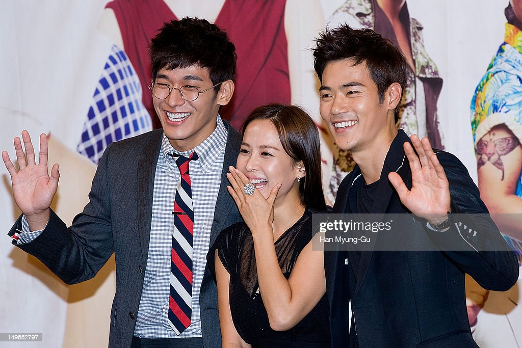 South Korean actors Jung Suk-Won, <a gi-track='captionPersonalityLinkClicked' href=/galleries/search?phrase=Jo+Yeo-Jeong&family=editorial&specificpeople=7240534 ng-click='$event.stopPropagation()'>Jo Yeo-Jeong</a> and Kim Kang-Woo attend during a press conference to promote the KBS drama 'Haeundae Lovers' at Imperial Palace Hotel on August 01, 2012 in Seoul, South Korea. The drama will open on August 06 in South Korea.