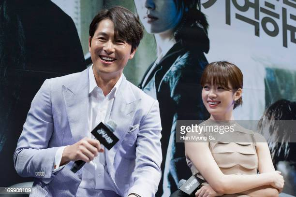 South Korean actors Jung WooSung and Han HyoJoo attend the 'Cold Eyes' Press Conference on June 4 2013 in Seoul South Korea The film will open on...