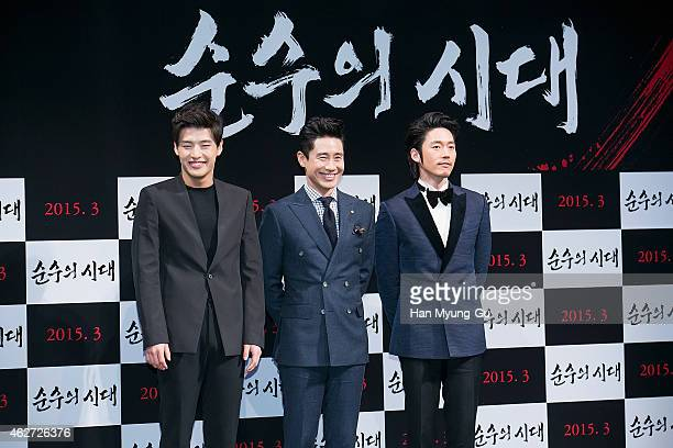 South Korean actors Kang HaNeul Shin HaKyun and Jang Hyuk attend the press conference for 'Empire of Lust' at CGV on February 3 2015 in Seoul South...