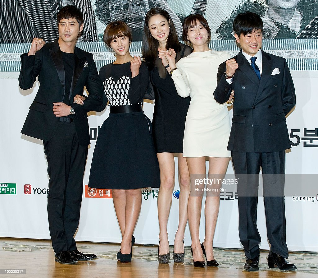 South Korean actors <a gi-track='captionPersonalityLinkClicked' href=/galleries/search?phrase=Kang+Ji-Hwan&family=editorial&specificpeople=5629350 ng-click='$event.stopPropagation()'>Kang Ji-Hwan</a>, Hwang Jung-Eum, Choi Yeo-Jin, Oh Yoon-Ah and Park Sang-Min attend the SBS Drama 'Incarnation Of Money' Press Conference at SBS on January 29, 2013 in Seoul, South Korea. The movie will open on February 02 in South Korea.