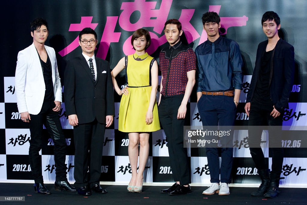 South Korean actors Kang JiHwanSung YouRiLee SooHyukKim YoungKwang and Shin MinChul and director Shin TaeRa attend during at the 'Runway Cop' Korean...