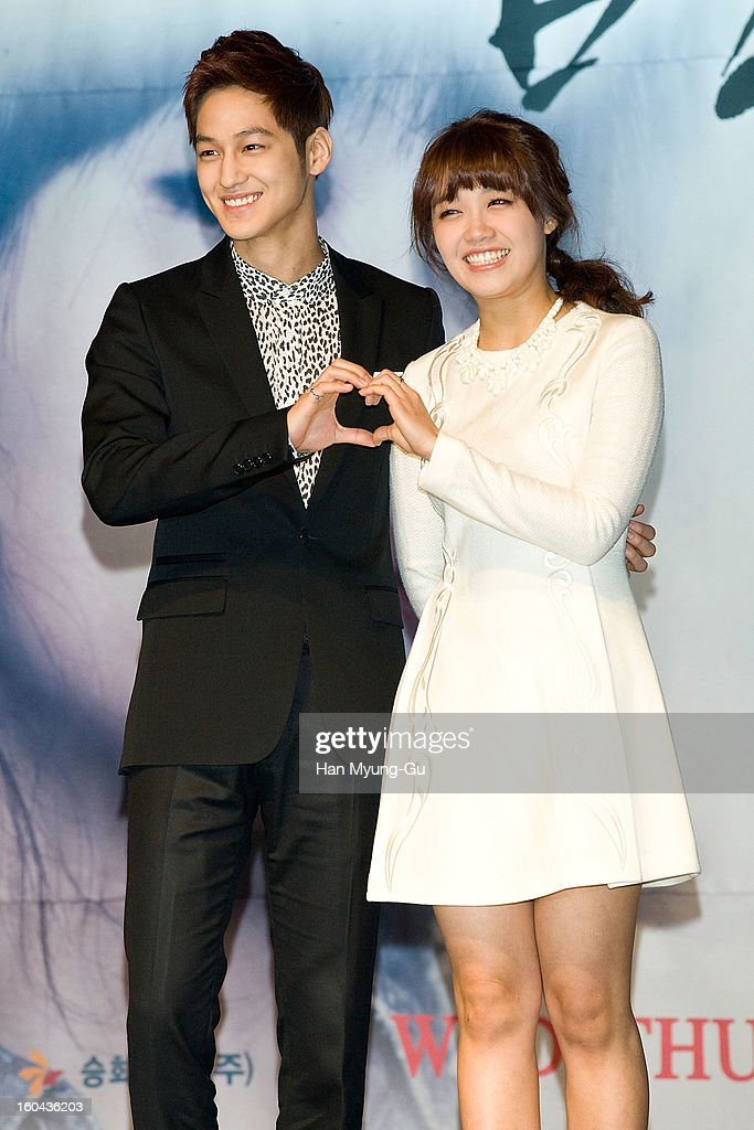 South Korean actors Kim Beom and Jeong Eun-Ji (Jung Eun-Ji) attend the SBS Drama 'Baramibunda' press conference at Blue Square Samsung Card Hall on January 31, 2013 in Seoul, South Korea. The drama will open on February 13 in South Korea.