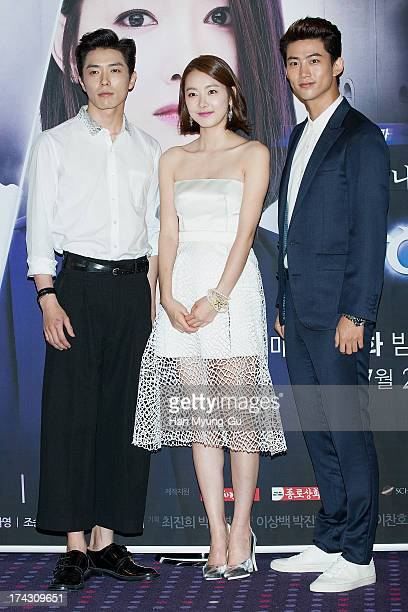 South Korean actors Kim JaeUck So EHyun and Taecyeon of South Korean boy band 2PM attend the tvN Drama 'Who Are You' press conference on July 23 2013...