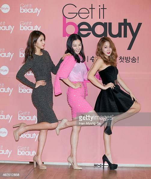 South Korean actors Kim JungMin Lee HaNee and Soyou of South Korean girl group SISTAR attend the press conference for OnStyle 'Get It Beauty' at the...
