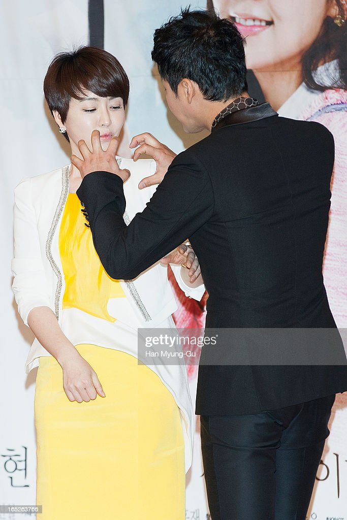 South Korean actors Kim Jung-Nan (Kim Jeong-Nan) and Gong Hyung-Jin attend the SBS Drama 'All About My Love' Press Conference at SBS Building on April 2, 2013 in Seoul, South Korea. The drama will open on April 04 in South Korea.