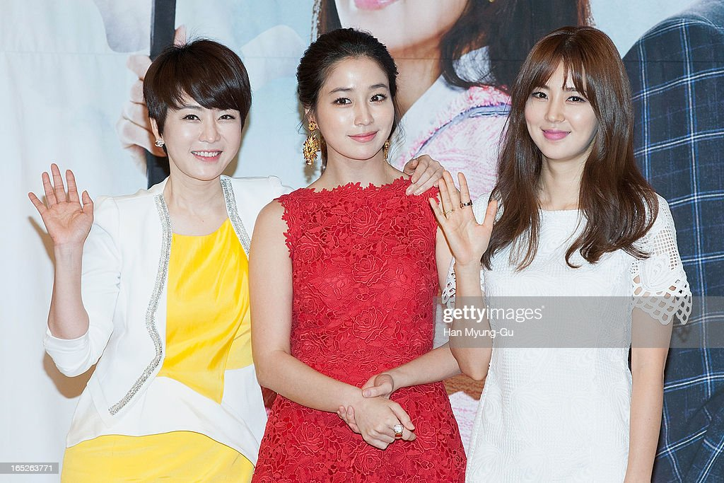 South Korean actors Kim JungNan Lee MinJung and Han ChaeA attend the SBS Drama 'All About My Love' Press Conference at SBS Building on April 2 2013...